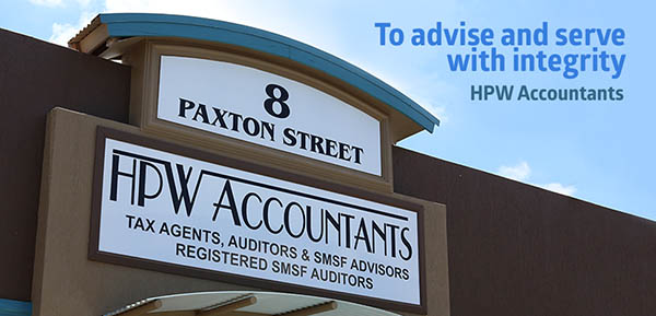 outside signage for the HPW Accountants building